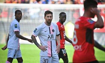 Messi no puede creer que Rennes les haya ganado por la Ligue 1 de Francia