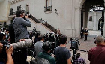 """Piñera ofrece una conferencia un día después de que fue mencionado en los """"Pandora Papers"""", en el palacio presidencial de La Moneda, Santiago"""