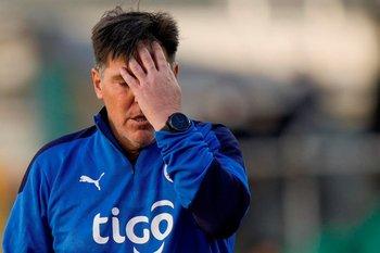 El gesto de Berizzo, técnico de Paraguay, lo dice todo.