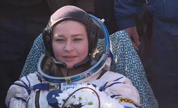 La actriz Yulia Pereslid, de 37 años, tras retornar a la Tierra.