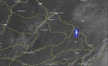 Así fue el destello registrado por el satélite en Cerro Largo y Rivera.