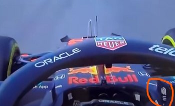 La bronca de Verstappen que le muestra el dedo mayor (en la marca anaranjada) a Hamilton luego de insultarlo en la pista