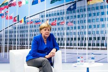 La canciller alemana, Angela Merkel, en la sede central de la OTAN en Bruselas el pasado 11 de julio