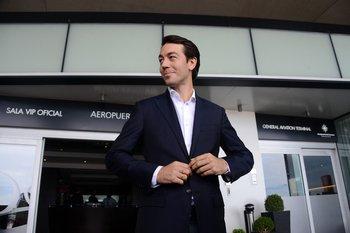Juan Sartori este lunes, en su llegada a Uruguay
