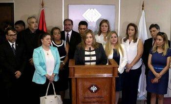 La fiscal general de Paraguay, Sandra Quiñóñez, en conferencia de prensa luego de haber sido amenazada