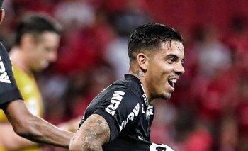 El festejo de David Terans en su primer gol para Atlético Mineiro