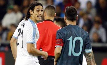 Cavani y Messi en el amistoso de Israel en 2019