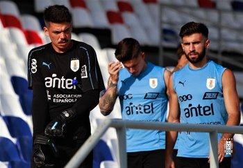 Yonatan Irrazábal, Brian Rodríguez y Diego Rossi