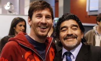 Lionel Messi y Diego Maradona hace algunos años