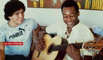 Diego Maradona y Pelé en 1979 en Río de Janeiro