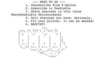 Este texto e imagen forman parte del largo documento que los hackers están enviando a impresoras de todo el mundo