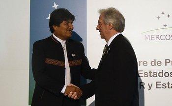 Evo Morales y Tabaré Vázquez en la Cumbre del Mercosur