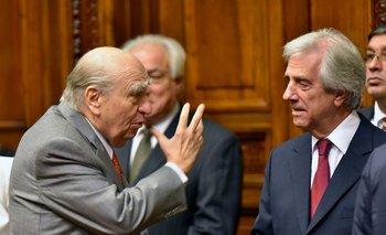 Los expresidentes Julio María Sanguinetti y Tabaré Vázquez