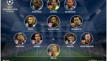 Suárez y Godín en el equipo ideal de la semana en la Champions