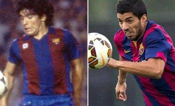 Maradona y Suárez con la de Barcelona
