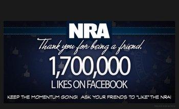 """La NRA anunció haber llegado a 1,7 millones de """"me gusta"""" en Facebook"""