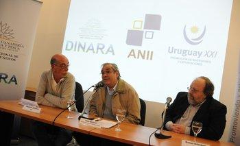 Silveira, Benech y Gilardoni en la sede de la ANII