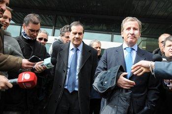 El médico de Peñarol, Alfredo Rienzi, y Damiani