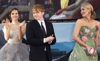 JK Rowling junto a Emma Watson y Rupert Grint