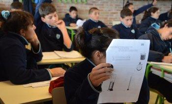 Alumnos del Liceo Impulso, en el barrio Casavalle