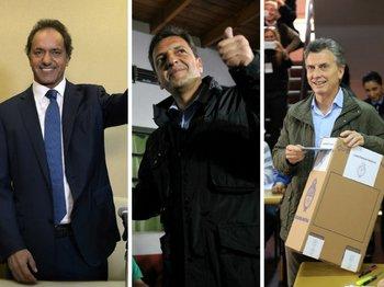 Daniel Scioli, Sergio Massa y Mauricio Macri