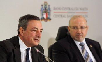 Mario Draghi, presidente del BCE, este jueves en Malta <br>
