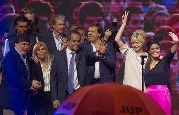 Daniel Scioli celebró antes de conocer los resultados oficiales. <br>