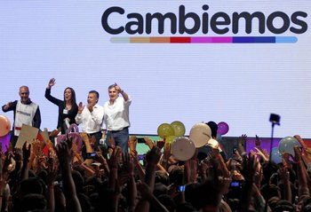 (L-R) The elected Head of Government of the Autonomous City of Buenos Aires Horacio Rodriguez Larreta, Buenos Aires province governor-elect Maria Eugenia Vidal, Mendoza province governor-elect Alfredo Cornejo and Jujuy province governor-elect Gerardo Morales, remain at the Cambiemos (Let