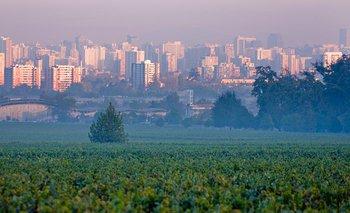 La bodega Cousiño Macul y el trasfondo de la urbe de Santiago