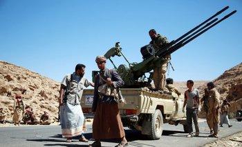 Milicias hutíes en Yemen.<br>