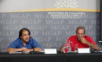 Fernando Sganga y José Olascuaga en la conferencia de prensa del MGAP.<br>