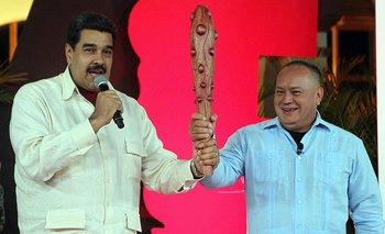 Nicolás Maduro y Diosdado Cabello en el programa de televisión del segundo.<br>