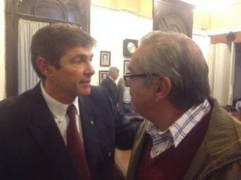 Jorge Riani, presidente de la FR, con Enzo Benech, el nuevo ministro de Ganadería.<br>