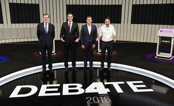 De izquierda a derecha: Mariano Rajoy, Pedro Sánchez, Albert Rivera y Pablo Iglesias