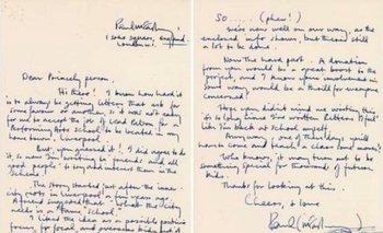La carta expresaba el pedido de ayuda económica para el Instituto para las Artes escenicas de Liverpool<br>