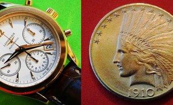 Un reloj Longines de oro de 18 quilates y una moneda de oro del año 1910<br>