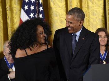 Diana Ross y Obama.<br>