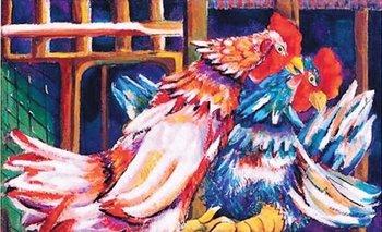 <i>Pelea de Gallos</i>, una obra del cubano Mariano Rodríguez que también fue subastada en Christies<br>