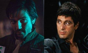 Diego Luna en<i> Rogue One</i> (2016) y Al Pacino en <i>Caracortada </i>(1983)