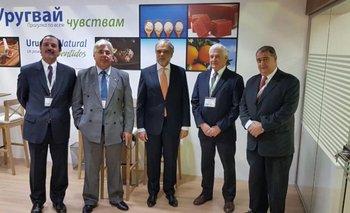 Guilermo Pigurina, Aguerre, José Luis Cancela, Federico Stanham y Emilio Mangarelli en Moscú<br>