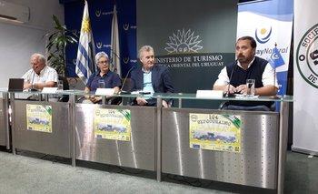 Autoridades de la Sociedad Rural de Durazno y del Ministerio de Turismo en la conferencia<br>