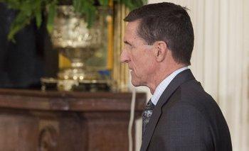 Michael Flynn arriba a la conferencia entre el presidente de Estados Unidos, Donald Trump, y el de Canadá, Justin Trudeau, ayer.