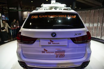 A 5G Connected car produced by Ericsson, SK telecom and BMW companies it