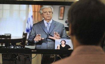 Vázquez defendió sus primeros dos años de gobierno en cadena nacional. L. Carreño