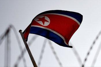 La bandera norcoreana.<br>