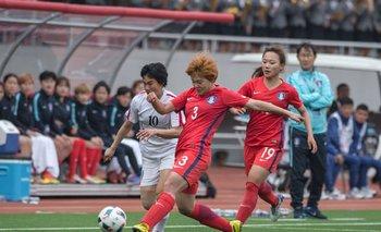 Una imagen del partido entre ambas Coreas
