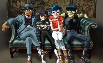 La banda Gorillaz representada por sus miembros ficticios<br>
