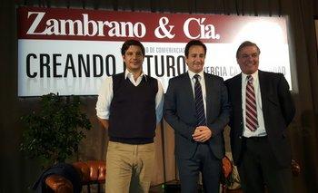 Alejandro Zambrano, Ignacio Munyo y Gerardo Zambrano en la conferencia<br>