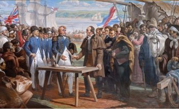 Artigas firma en 1817 un tratado de libre comercio con los ingleses para escapar del bloqueo de los portugueses y Buenos Aires. Óleo de José Luis Zorrilla de San Martín.