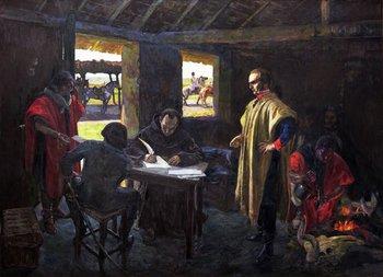 Artigas dictando a su secretario José Monterroso. Óleo de Pedro Blanes Viale